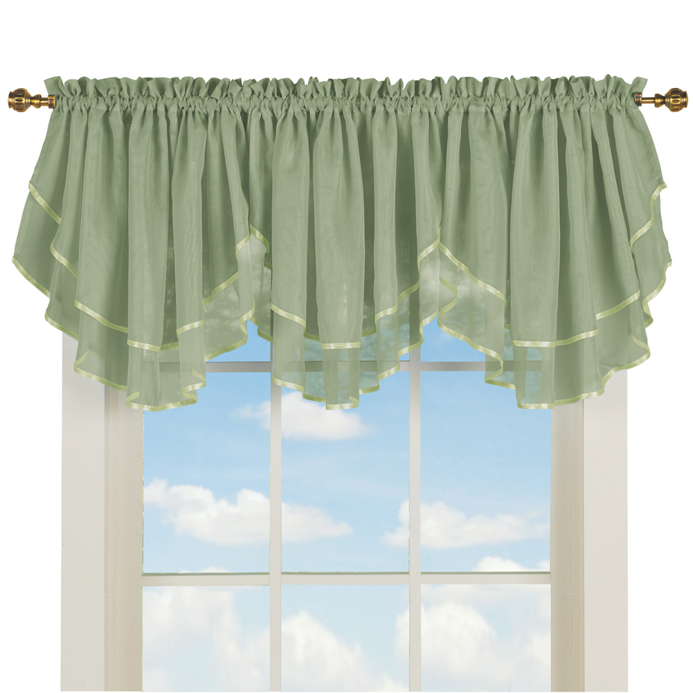 Spielzeug Dollhouse Swag Curtains With Rod Green 4 5