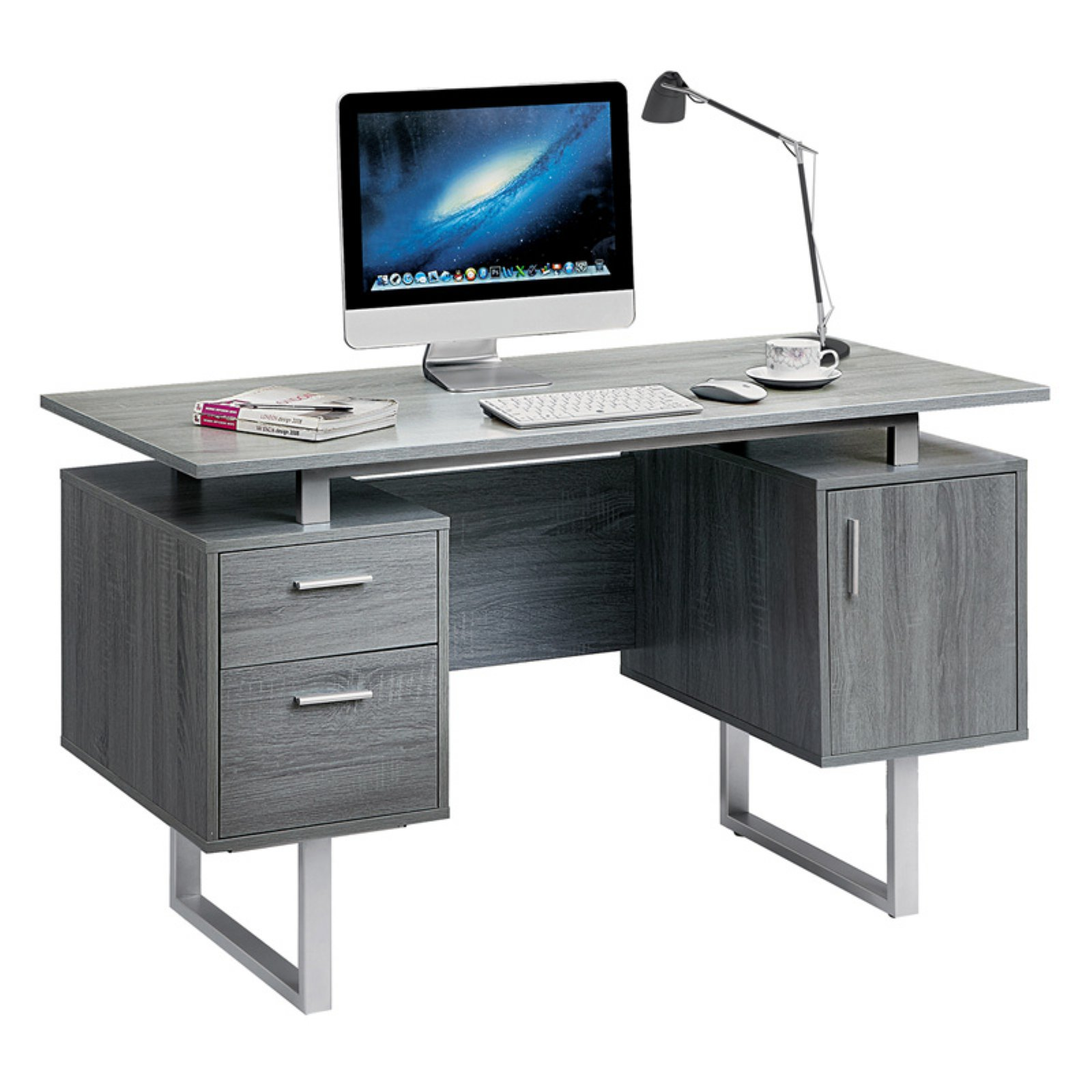 Mobili Furniture Techni Mobili Modern Office Desk With Storage Grey