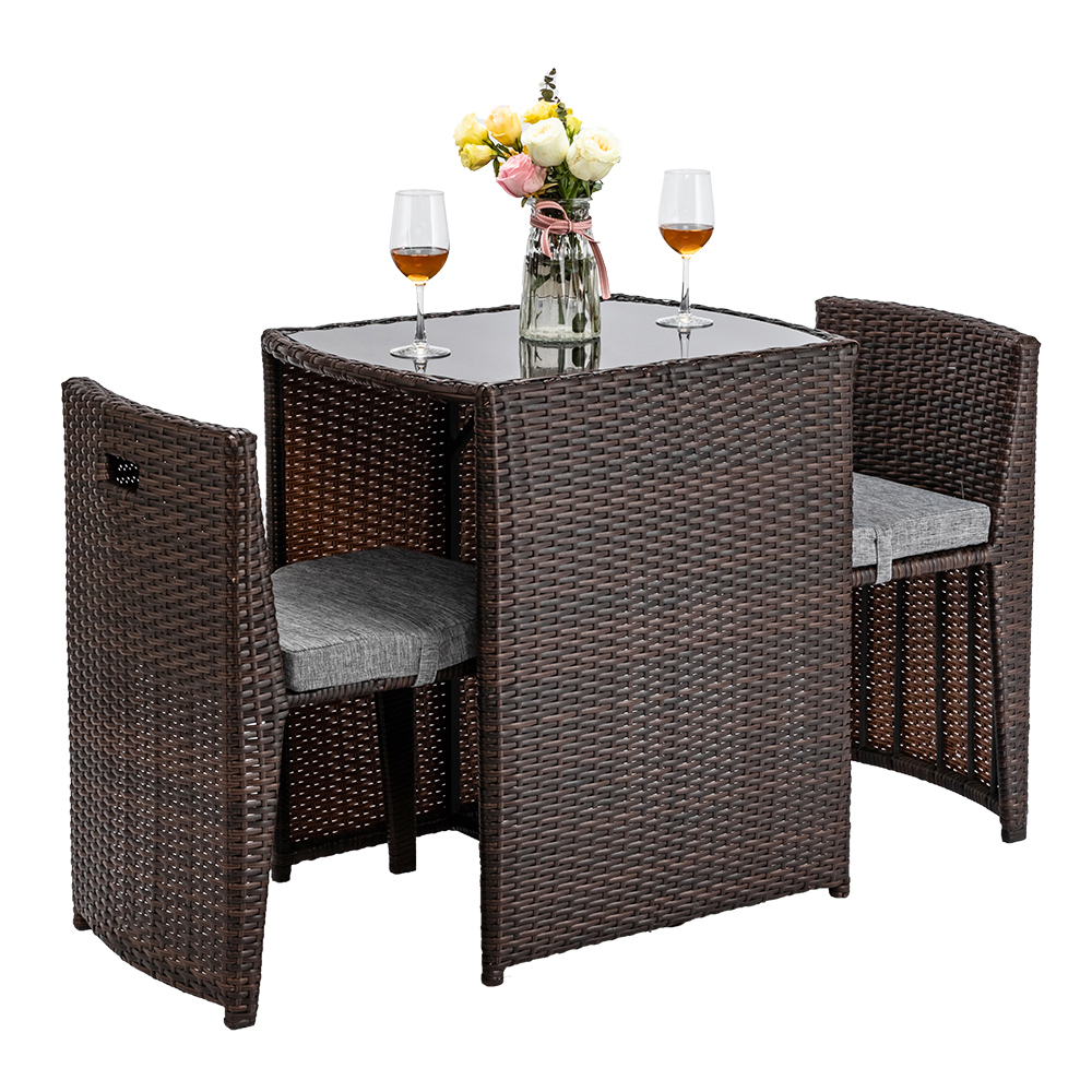 Clearance 3 Piece Rattan Wicker Patio Table Set Urhomepro Outdoor Bistro Furniture Set Rattan - Garden Furniture Clearance Leicestershire