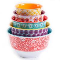 Mixing Bowl Set with Lids 10 Piece Nesting Traveling Vines ...