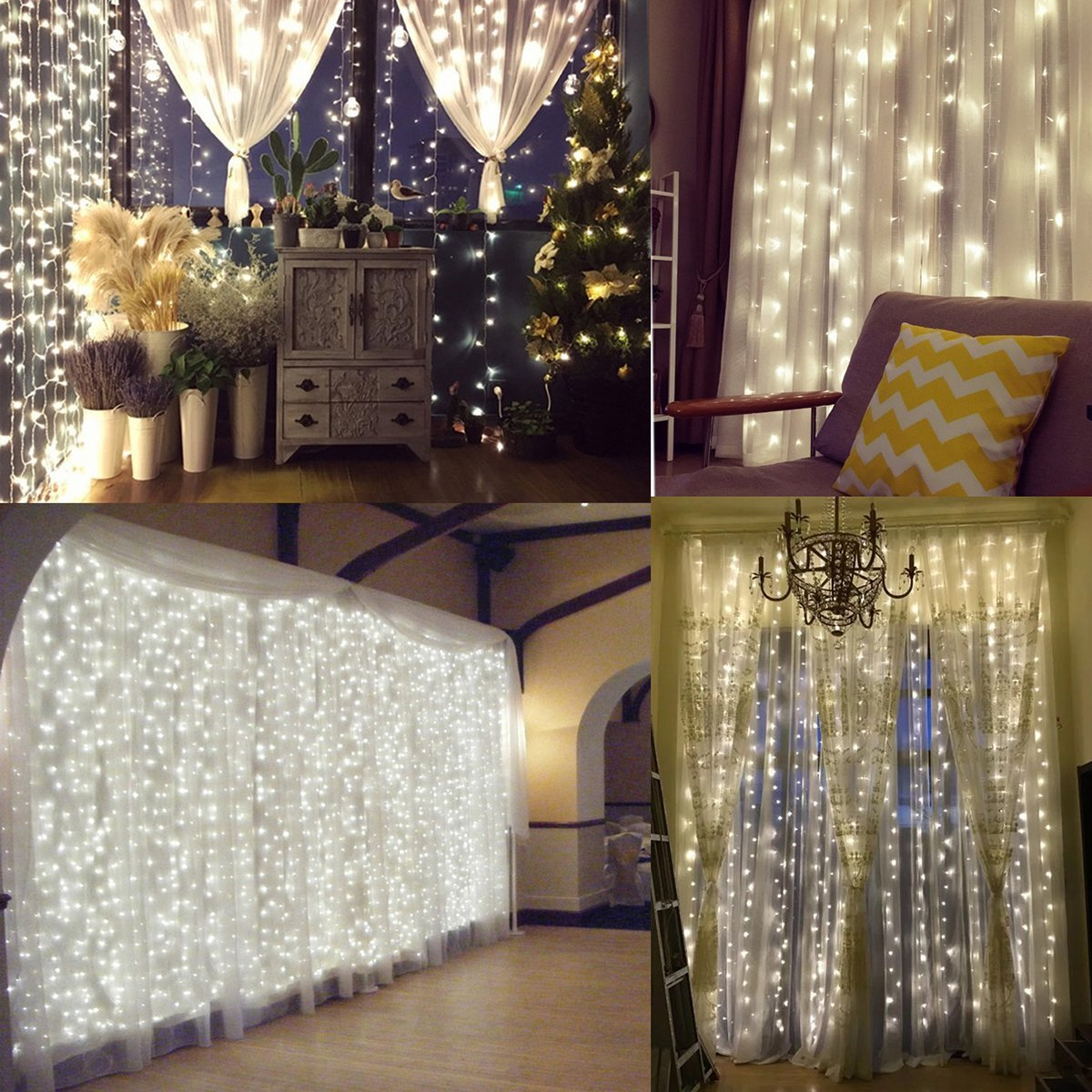 How To Make Curtain Lights Naisidier Window Curtain String Lights Starry Fairy Icicle Lights