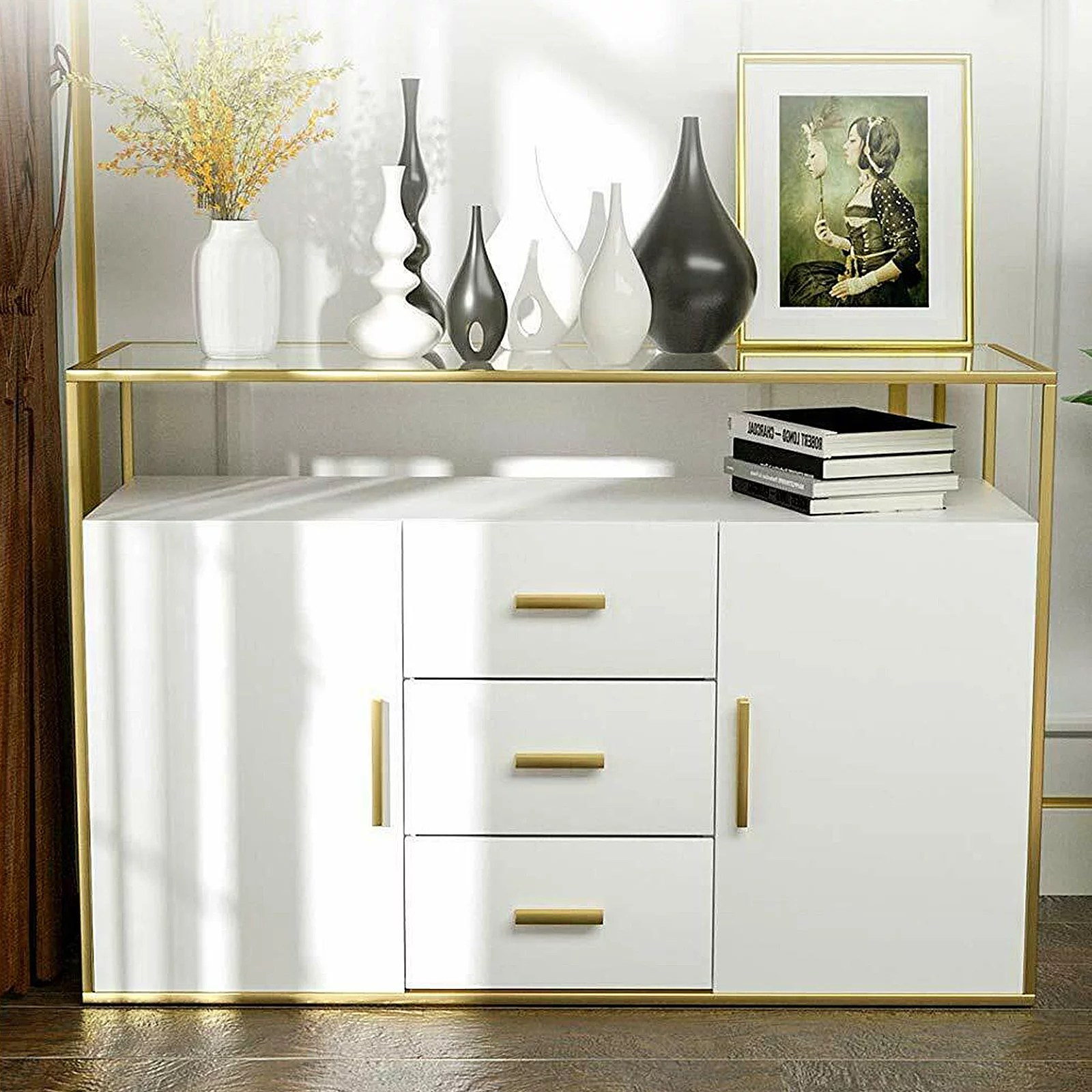 Mecor Kitchen Sideboard Buffet Cabinet Tempered Glass Top Buffet Storage Cabinet With 3 Drawers 2 Doors And Open Shelf Kitchen Dining Room Furniture Console Server Table White Home Kitchen Helioservice Furniture