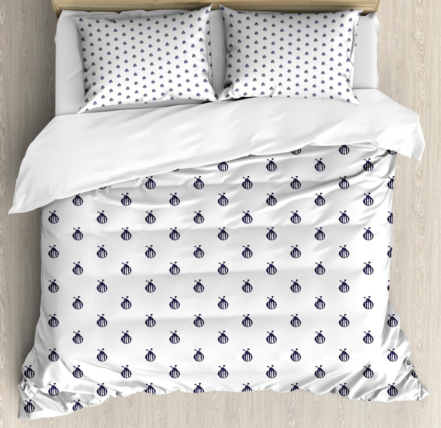 White Duvet Cover Queen Blue And White Duvet Cover Set Queen Size Hand Sketch Drawing Style Series Of Insects Doodle Colorado Bettle Decorative 3 Piece Bedding Set With 2