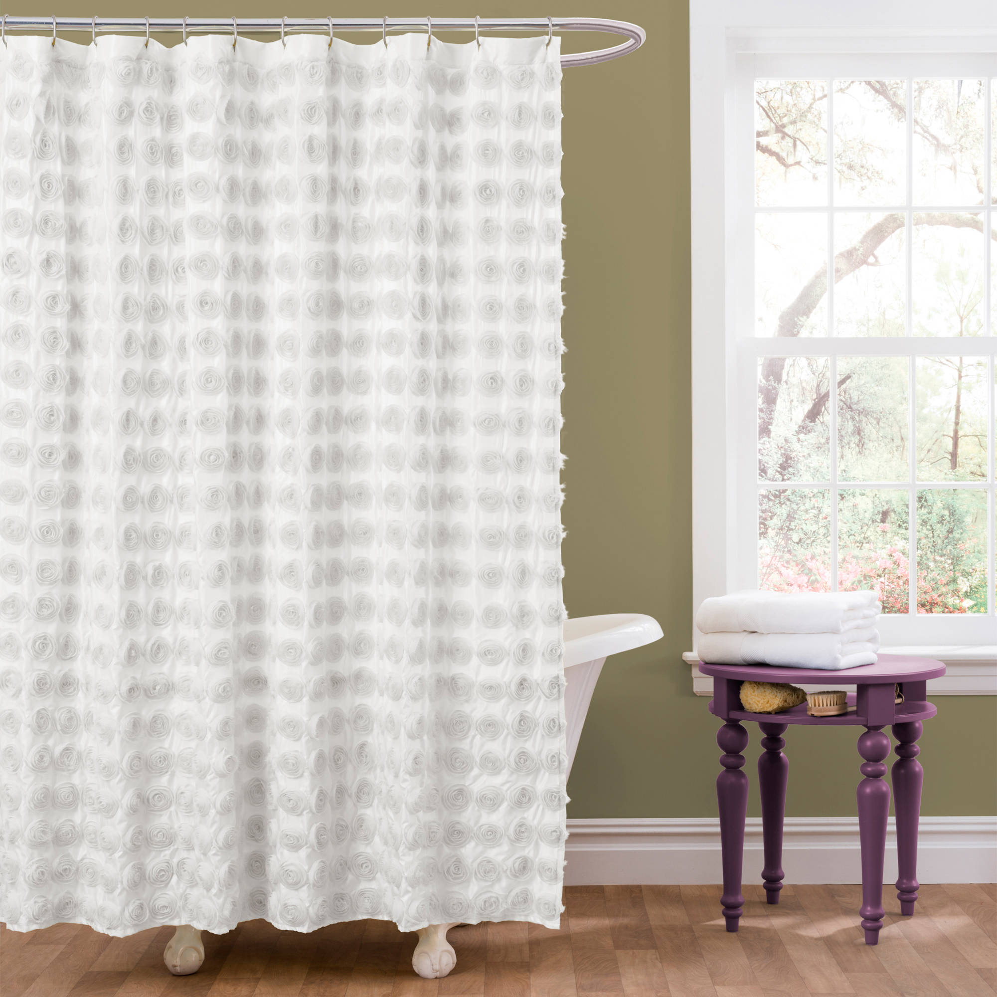 82 Shower Curtain Essential Living Emma Ivory Shower Curtain