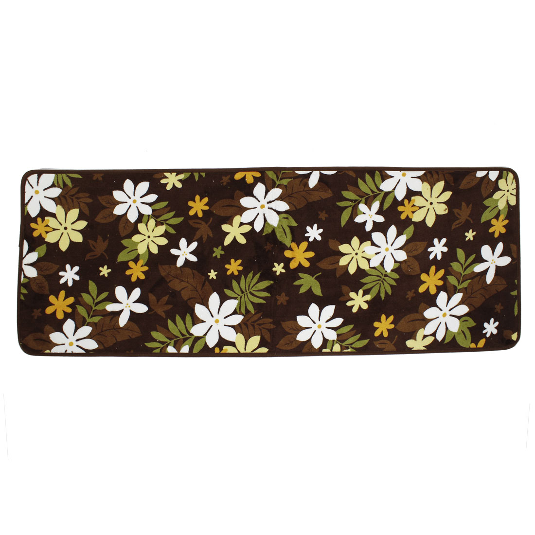 Coffee Color Floral Leaves Print Kitchen Floor Mat Area