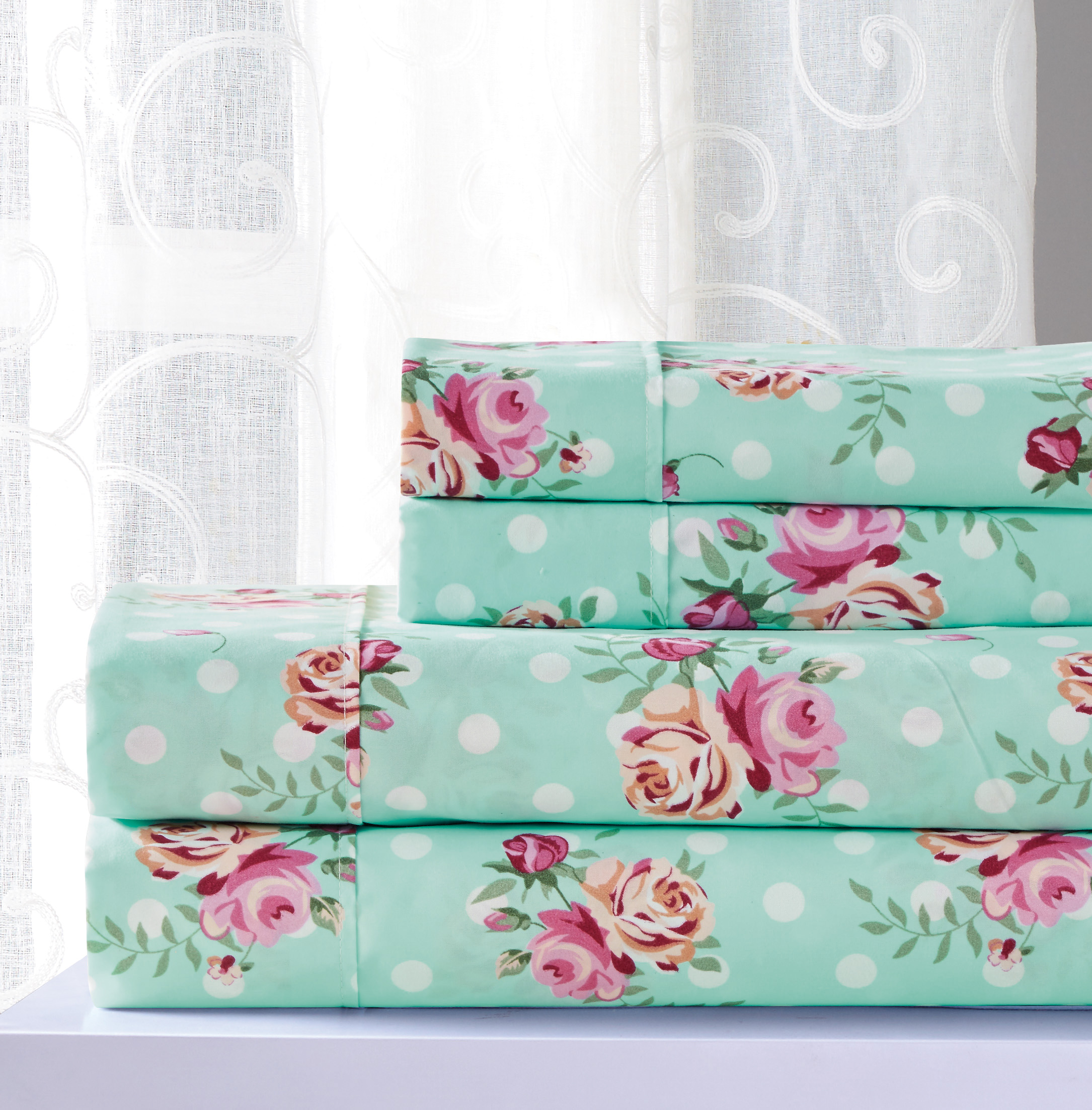 Printed Sheet Sets Essential Darcey 4 Piece Printed Sheet Set Queen