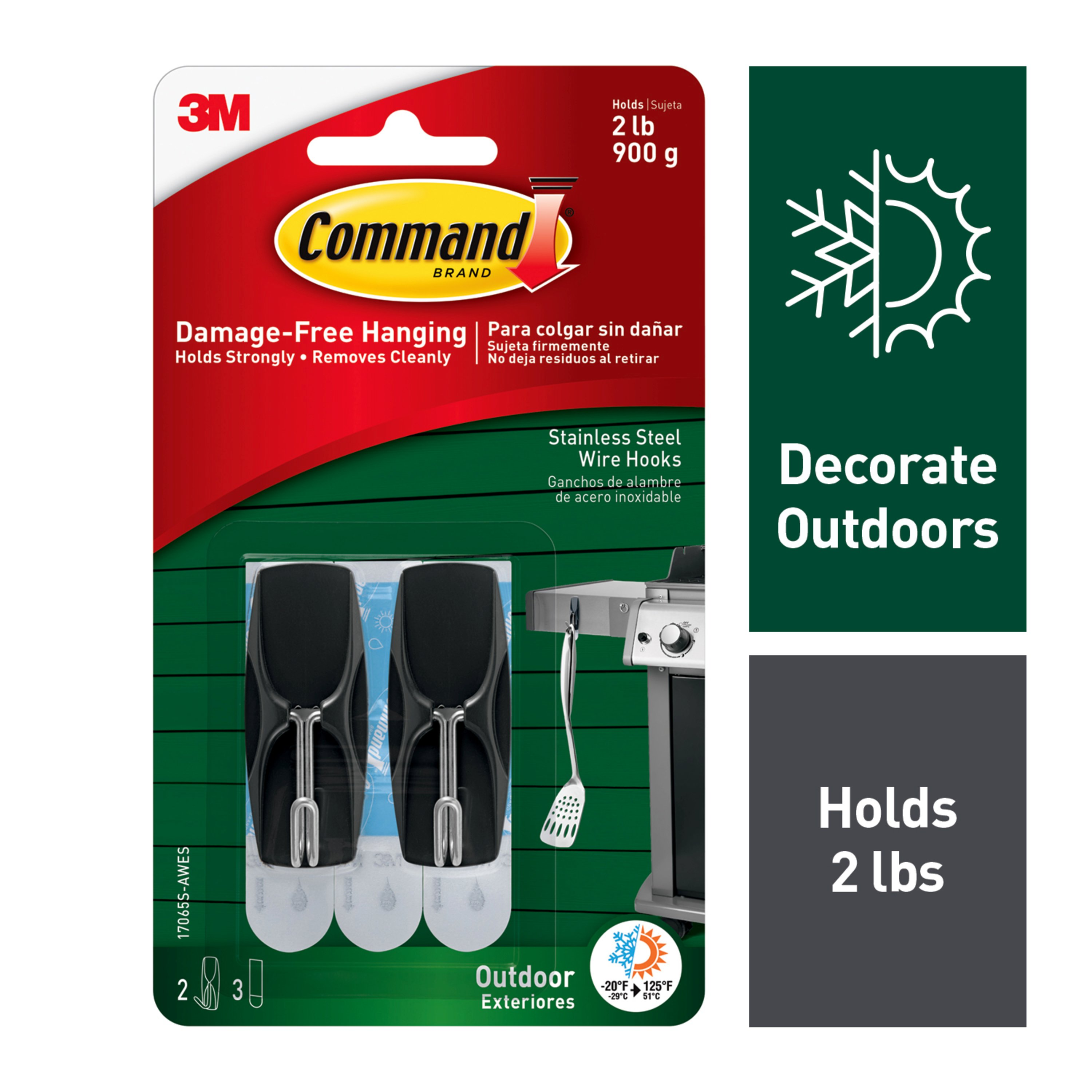 Rubber Mand Command Outdoor Stainless Steel Wire Hooks Medium 2 Hooks 3 Strips Pack