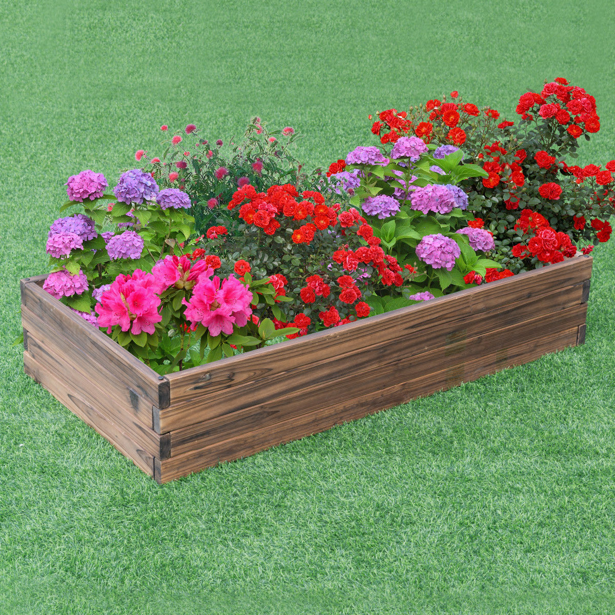 Planter For Herbs Gymax Wooden Raised Garden Bed Kit Elevated Planter Box For Growing Herbs Vegetable