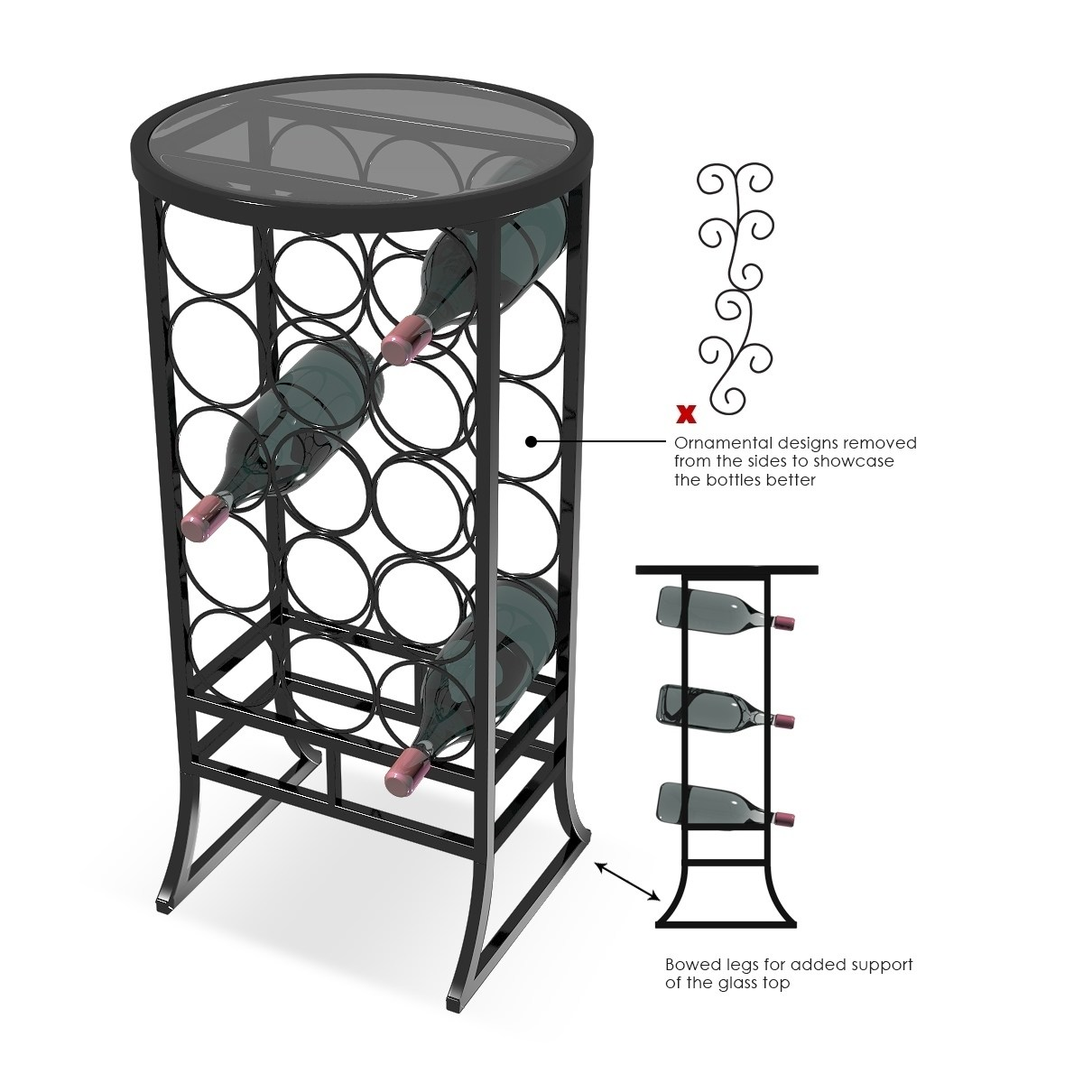 Small Wine Stand Sorbus Wine Rack Stand Glass Table Top 18 Bottles Wine Storage Organizer Display Rack Table For Dining Room Kitchen Wine Cellar Bar And More