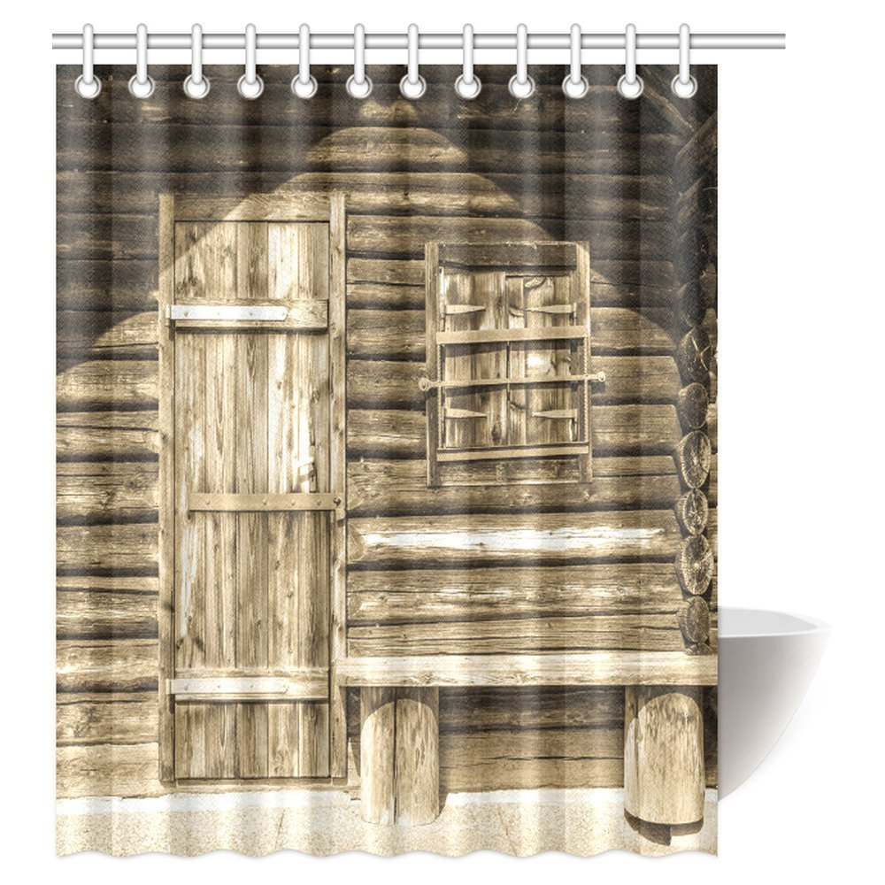 Cheap Rustic Shower Curtains Mypop Rustic Shower Curtain Old Wooden Barn Door Of Farmhouse Countryside Village Fabric Bathroom Decor Set With Hooks 60 X 72 Inches