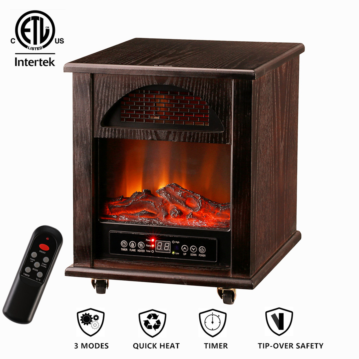 Space Heaters Fireplace Ainfox Infrared Quartz Electric Fireplace Stove Space Heater 1000w 1500w Heating Systems With Thermostat Tip Over And Overheat Protection Remote