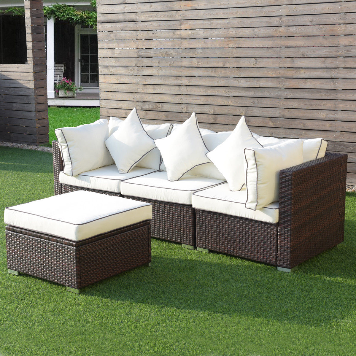 Rattan Sofa Near Me Costway 4pcs Wicker Rattan Sofa Furniture Set Patio Garden Lawn Sofa Cushioned Seat