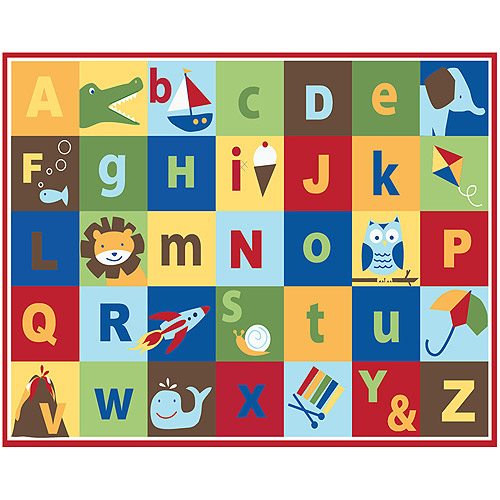 Mainstays Kids Teach Me Alphabet Nylon Rug Multi Color