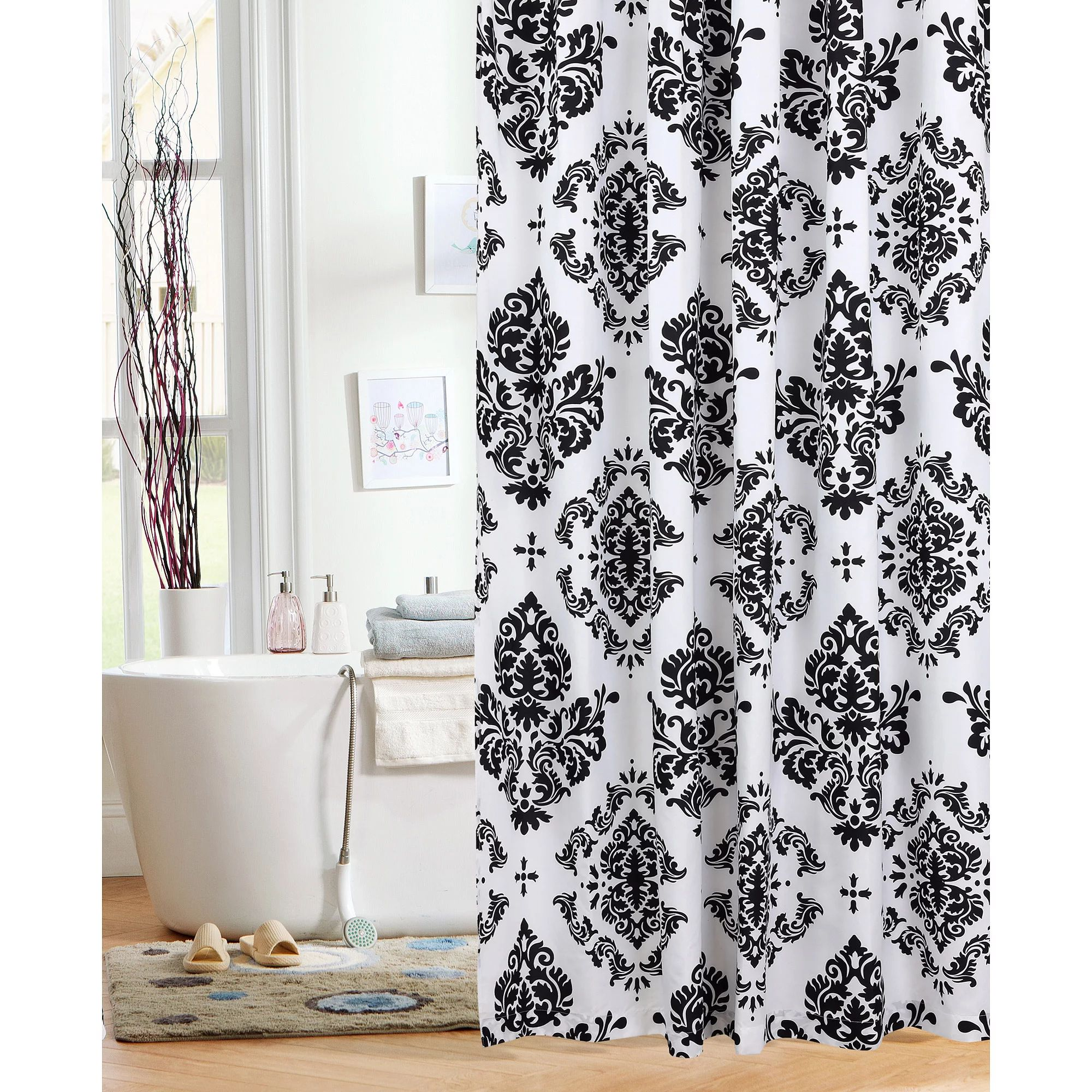 Mainstays classic noir 70 x 72 fabric shower curtain black walmart com