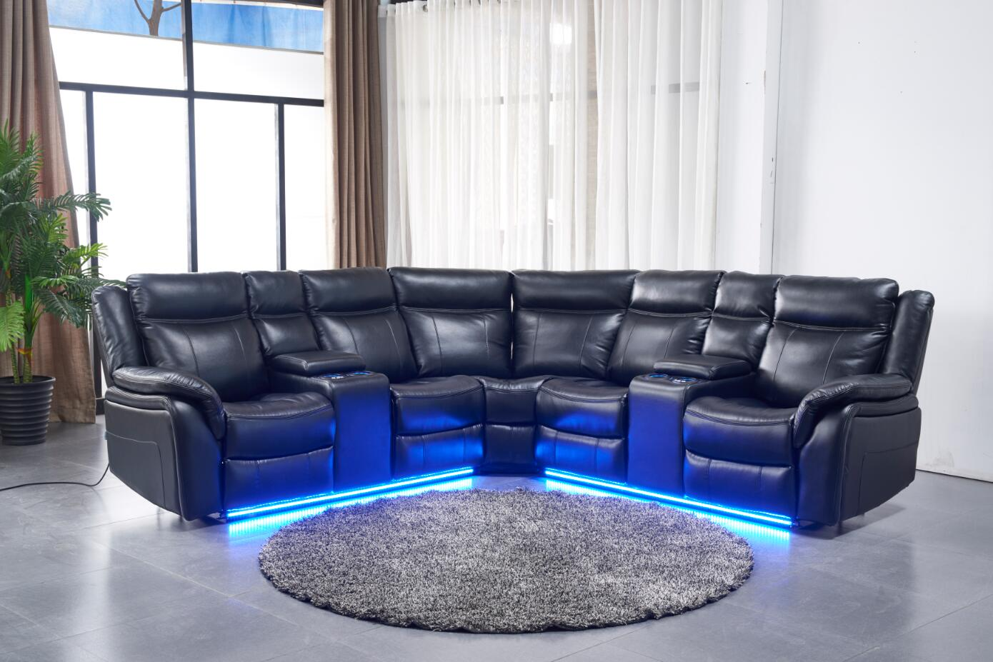 Contemporary Modern Power Motion Recliner Sectional Sofa Set W Usb And Led Lights Black Air Leather Cushion Recliner Loveseats Corner Console Living Room Furniture Walmart Com Walmart Com