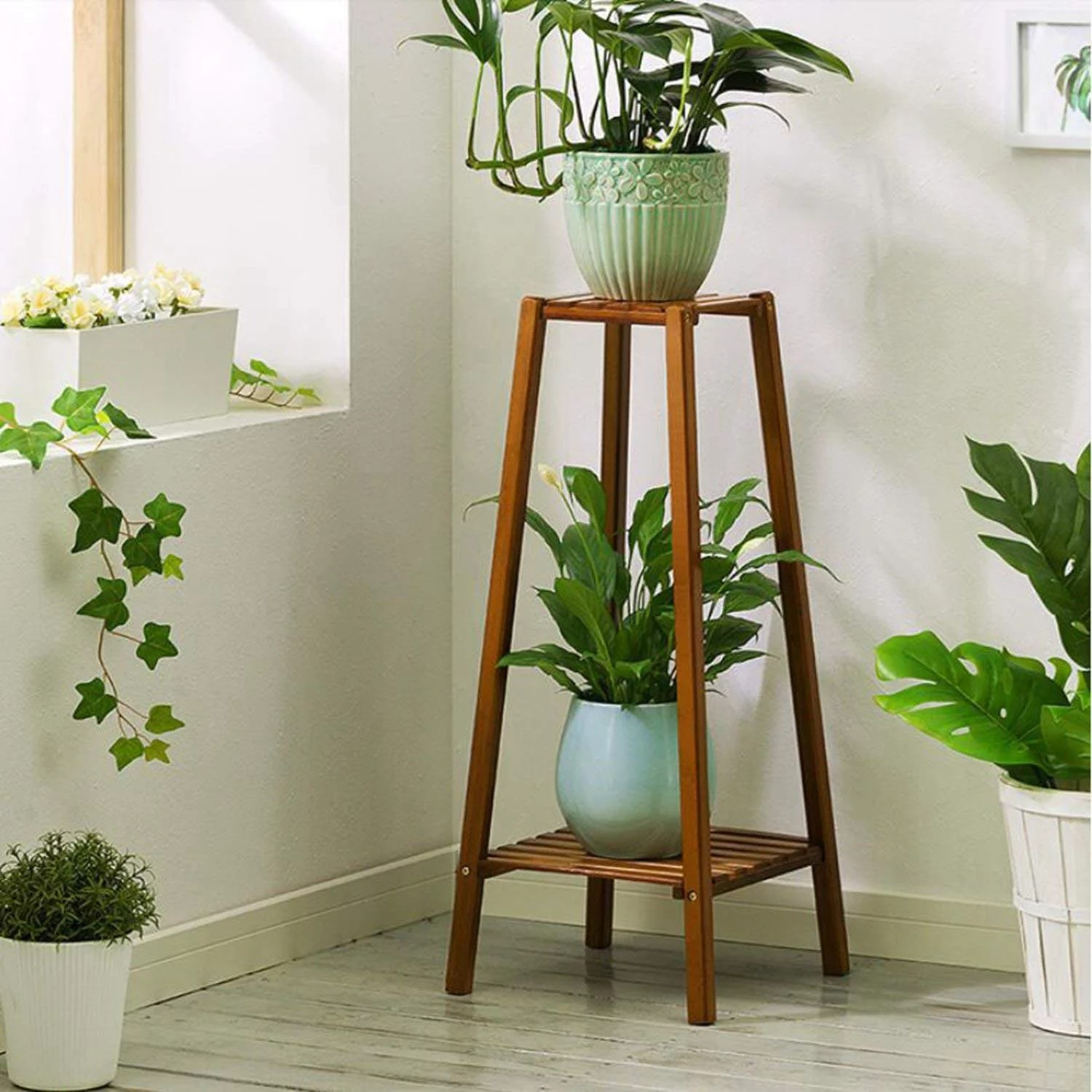 Tiered Plant Holders Magshion Bamboo 2 Tier Tall Plant Stand Pot Holder Small