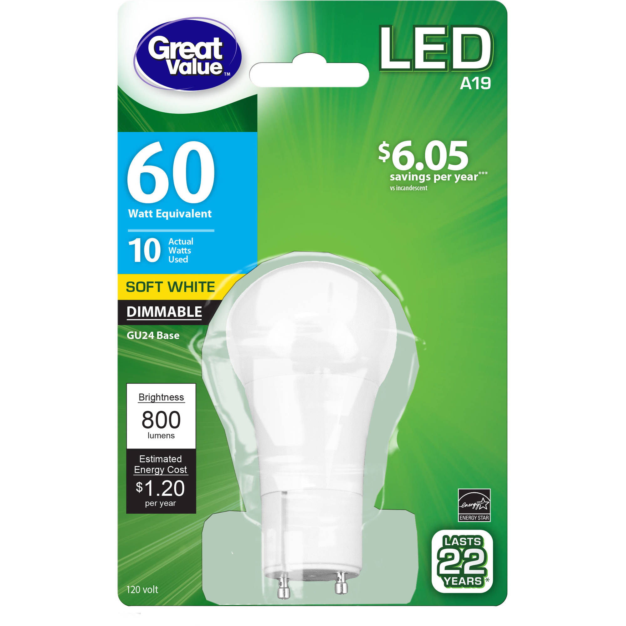 Led Lights At Walmart Great Value Led Light Bulb 10w 60w Equivalent A19 Lamp Gu24 Base Dimmable Soft White 1 Pack