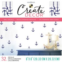 "DCWV Create Decor Removable Wall Decals 8""X8""-Blue Anchors ..."