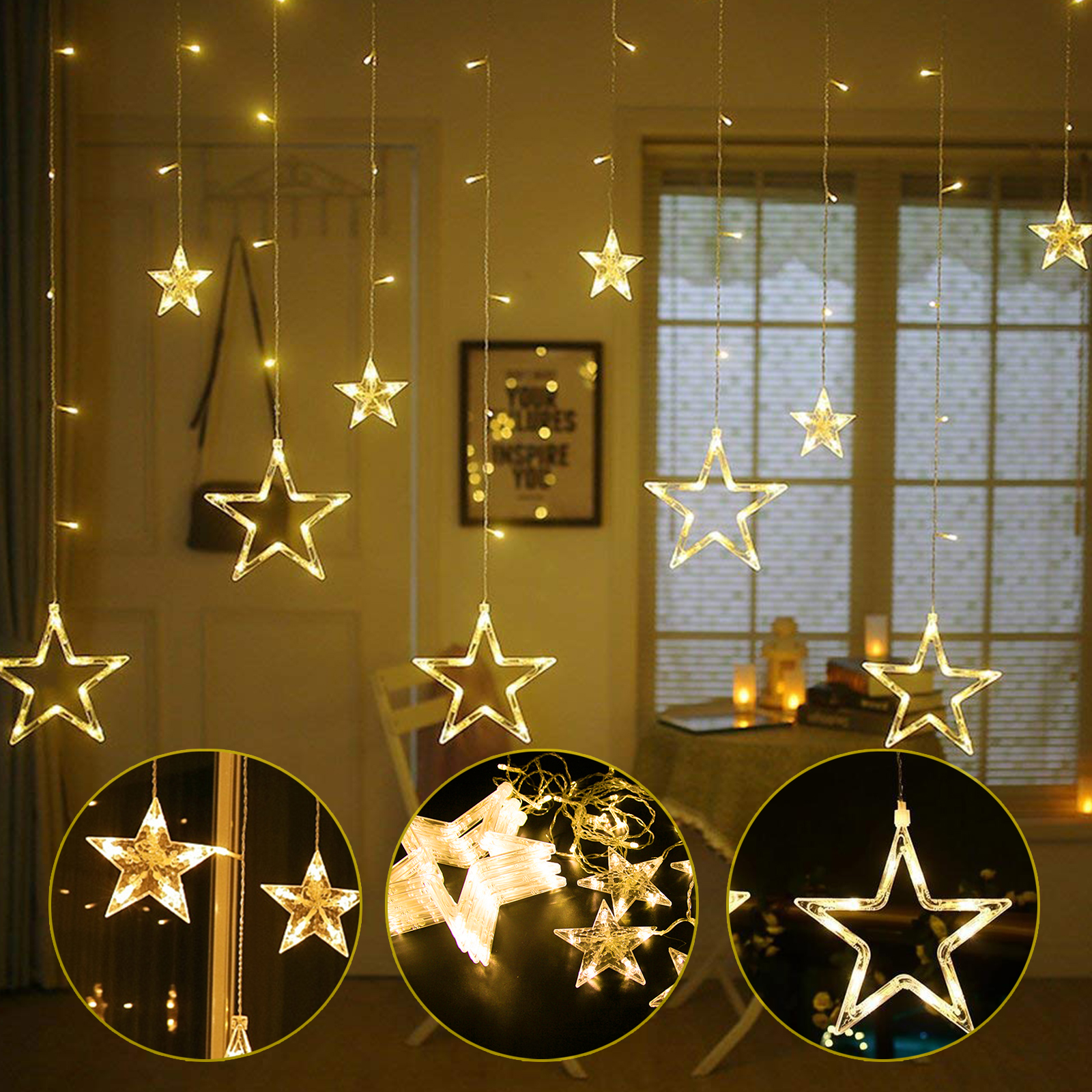 Stars Room Decor Led Star Curtain String Lights 12 Stars Window Xmas Christmas Wedding Room Décor