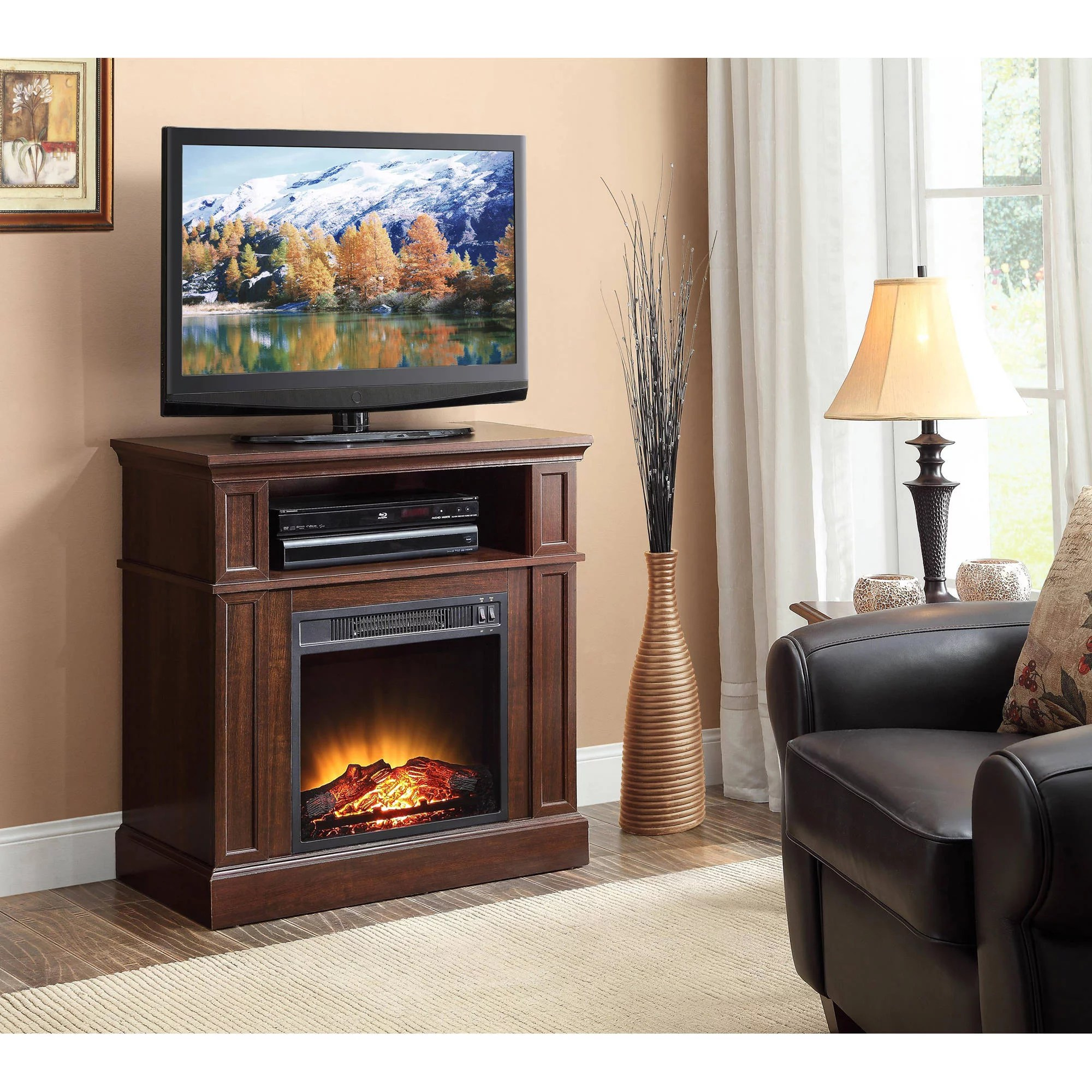 Walmart Black Electric Fireplace Ameriwood Home Barrow Creek Electric Fireplace Tv Stand For Tvs Up To 60