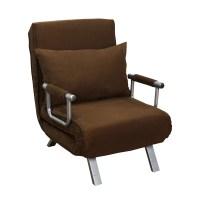 "HomCom 26"" Convertible Single Sleeper Chair Bed - Brown ..."