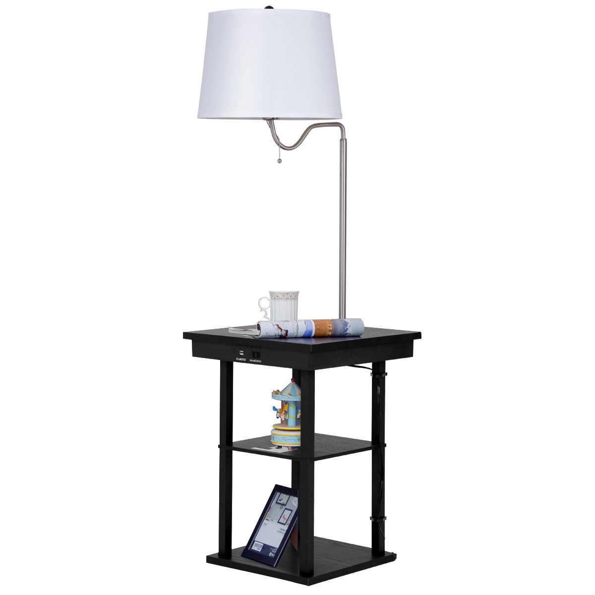 End Table With Lamp Built In Gymax Floor Lamp Swing Arm Lamp Built In End Table W Shade 2 Usb Ports Living Room