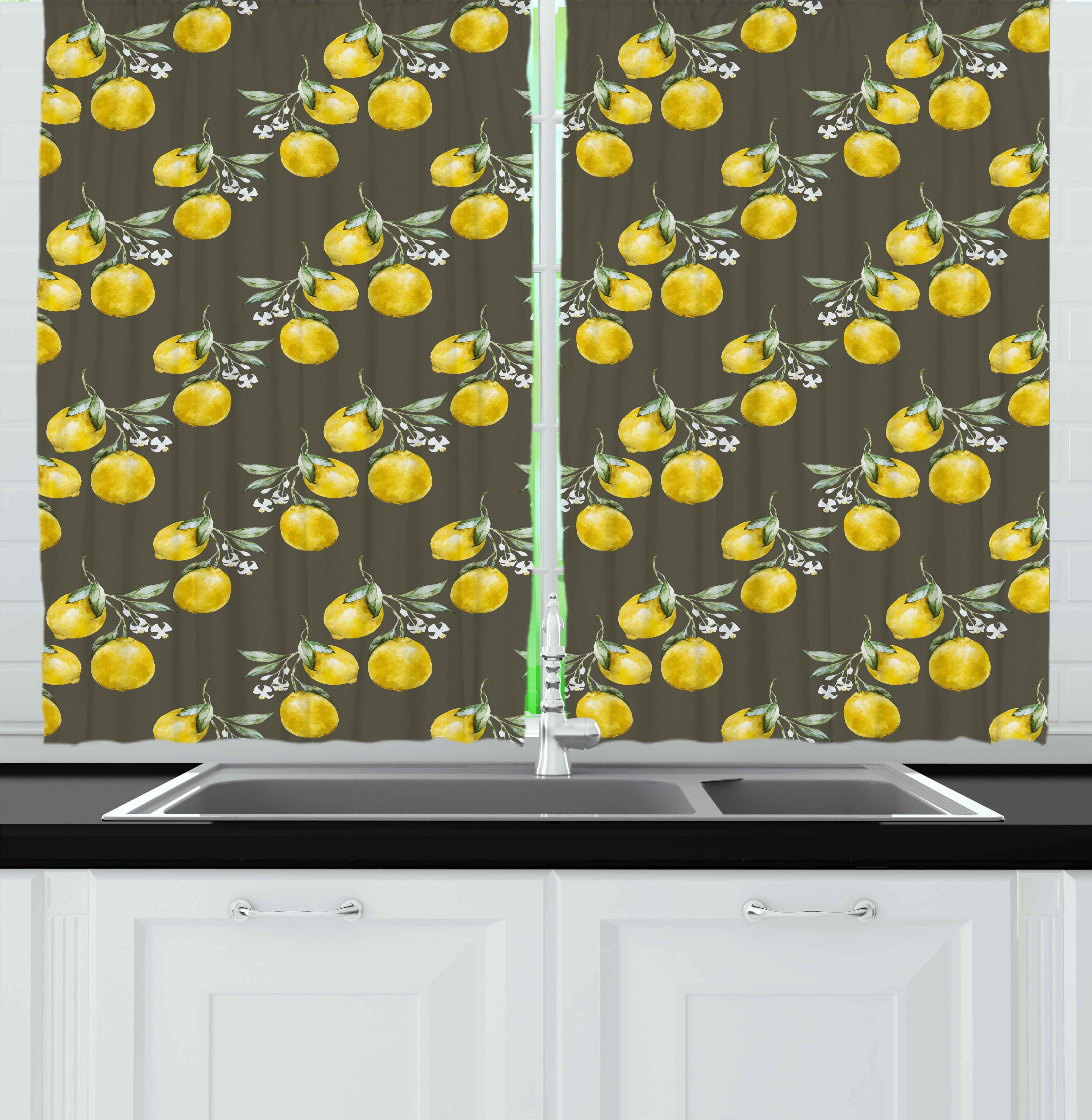 Lemon Green Curtains Floral Curtains 2 Panels Set Lemon Branches With Petals Growth Essence Nature Themed Artsy Print Window Drapes For Living Room Bedroom 55w X 39l