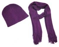 Super Soft Violet Purple Winter Scarf and Hat Set ...