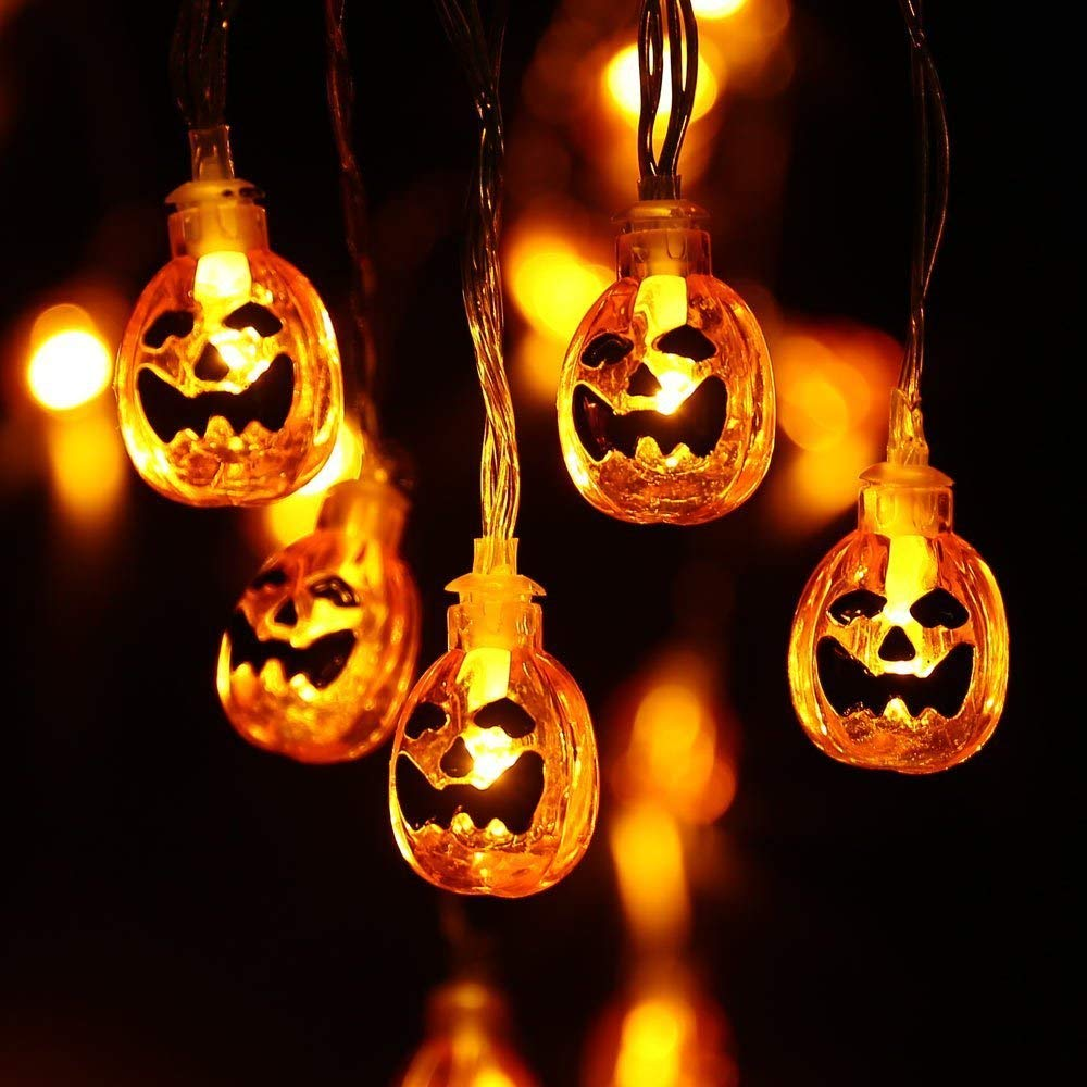 Led Halloween Lights Pumpkin Halloween Lights 30 Leds 9 8ft Battery Operated Led Halloween Decoration Lights For Halloween Patio Party Decor Indoor Lighting(30