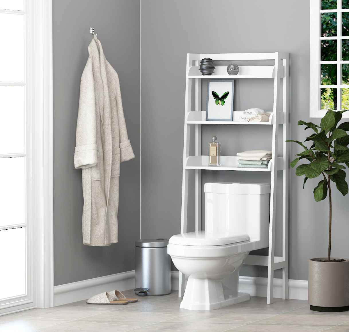 Bathroom Essentials Utex 3 Shelf Bathroom Organizer Over The Toilet Bathroom Space Saver Bathroom Shelf White Finish