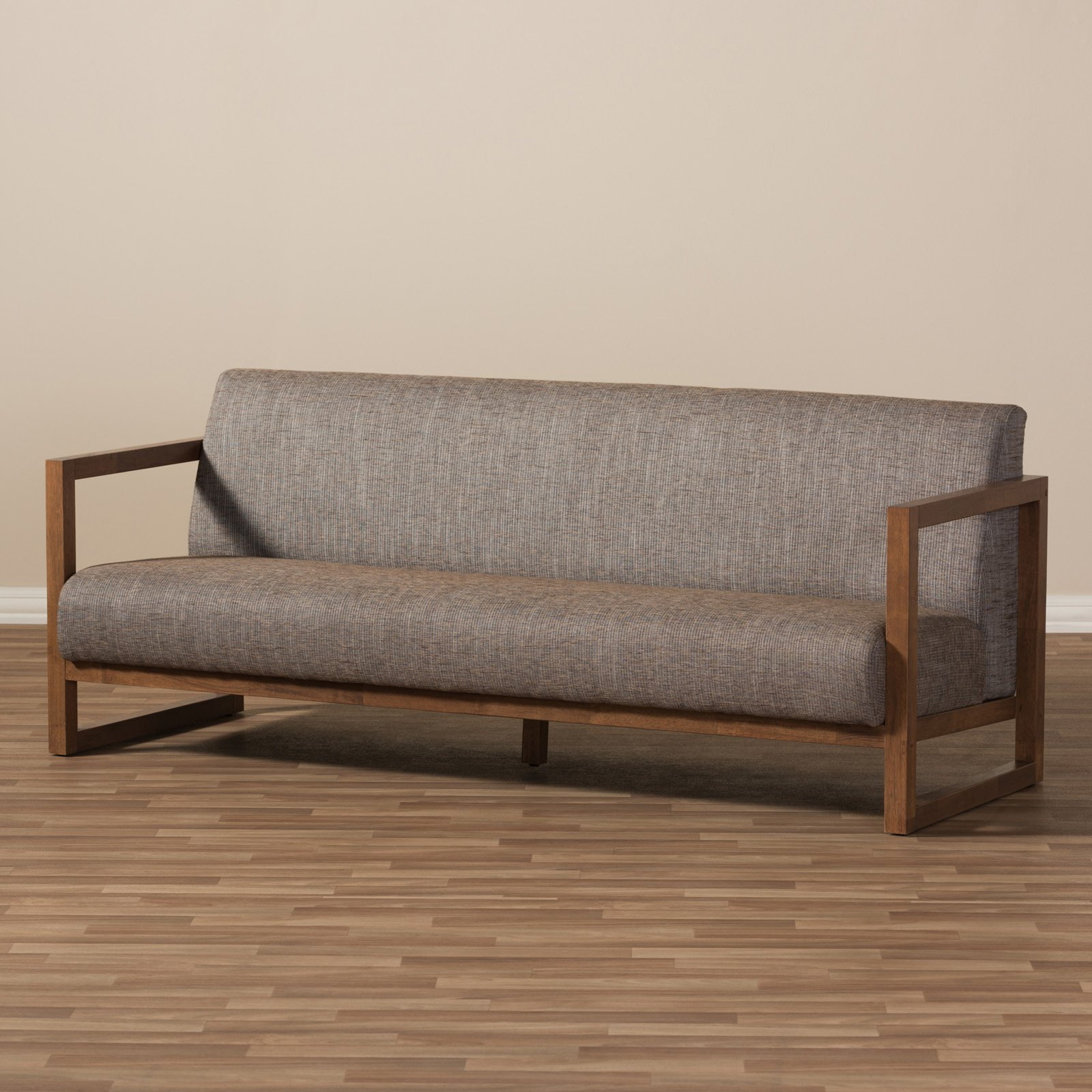 Sofa Fabric Baxton Studio Valencia Mid Century Modern Walnut Wood Finished Gravel Fabric Upholstered 3 Seater Sofa