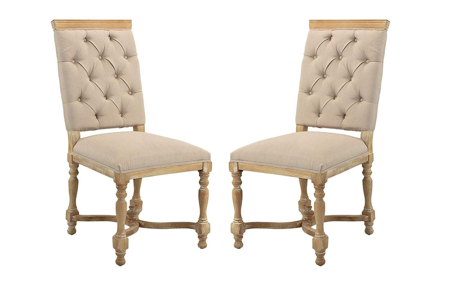 Dining Room Chair Fabric Classic 2 Piece Set Tufted Fabric Dining Room Chairs Antic Beige