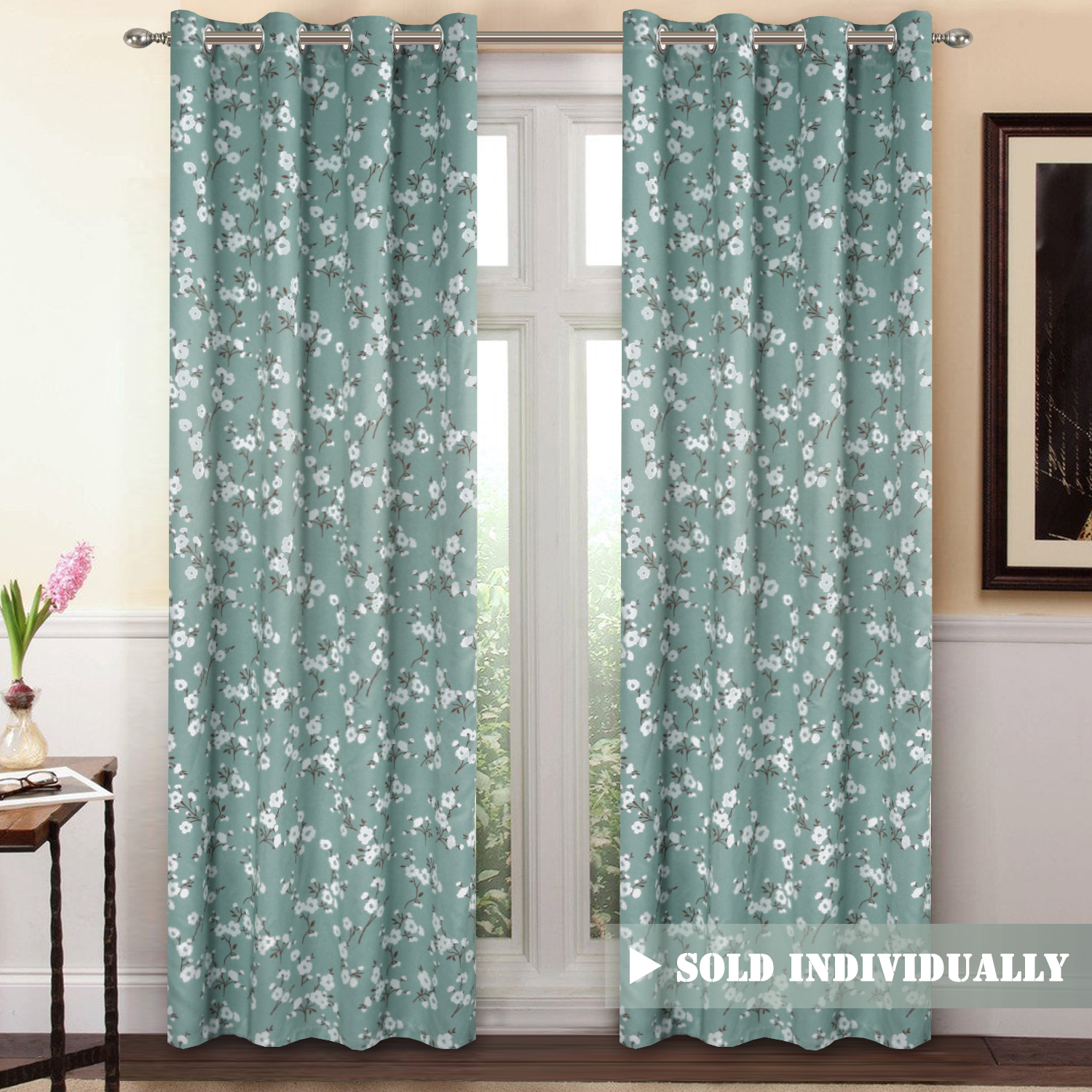 Ready Made Thermal Curtains H Versailtex Traditional Sakura Floral Pattern Room Darkening Thermal Insulated Blackout Curtains For Bedroom Grommet Top Set Of 1 Panel W52 X L96