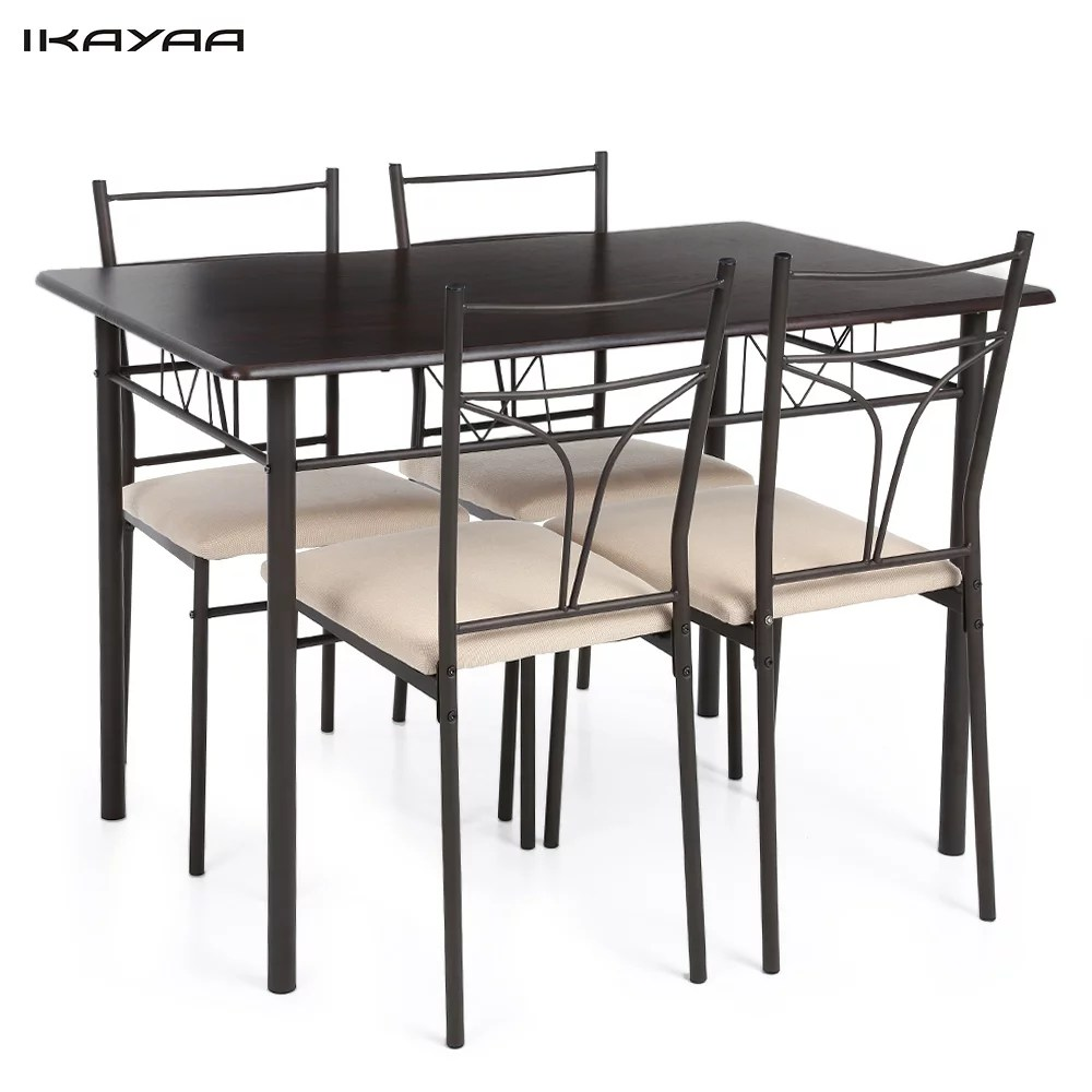 Ikayaa Modern Metal Frame Dining Kitchen Table Chairs Set 120kg Load Capacity For Kitchen Homes Gardens Black Walmart Com Walmart Com