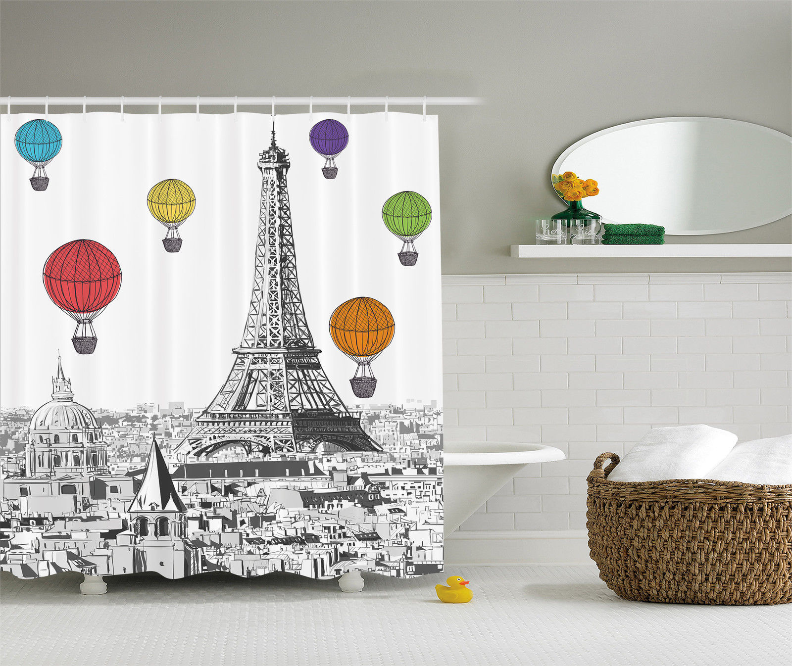 Air Curtain Shower Paris Eiffel Tower And Notre Dame Colorful Air Balloon Shower Curtain Extra Long