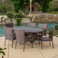 Reynolds 7 Piece Wicker Patio Dining Set - Walmart.com