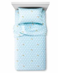 Circo Blue Unicorns & Rainbows Sheet Set Full Size Flannel