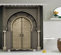 Moroccan Decor Shower Curtain Set, Aged Gate Geometric ...