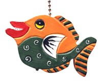 Orange and Green Tropical Fish Ceiling Fan Light Pull Hand ...