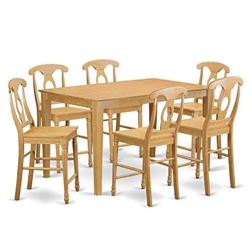 Cake7h Oak W 7 Piece Pub Table Set Pub Table And 6 Kitchen