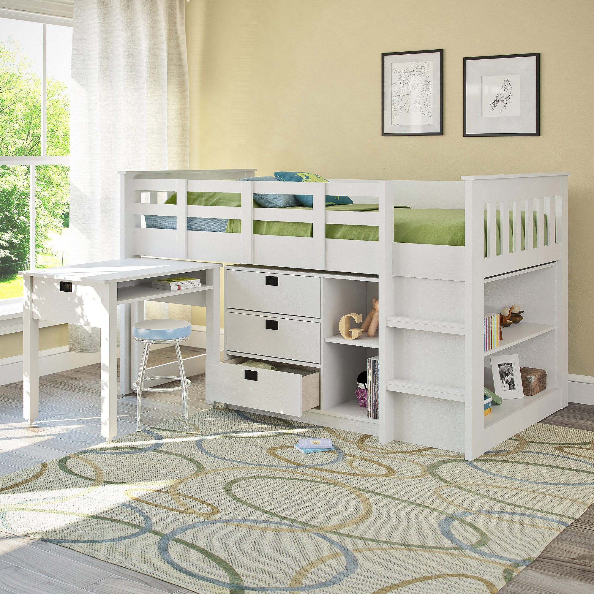 Corliving madison twin loft bed with desk and storage multiple colors walmart com