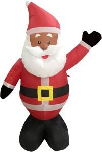 Black African American Santa Claus 4' Inflatable Airblown ...