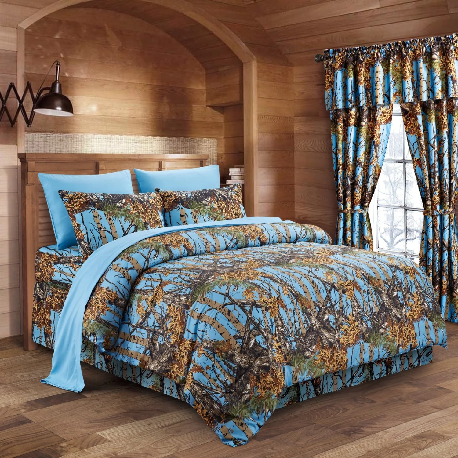 Amazon Cd Regal The Woods Powder Blue Camouflage Full 8pc Premium Luxury Comforter Sheet Pillowcases And Bed Skirt Set By Regal Comfort Camo Bedding Set For