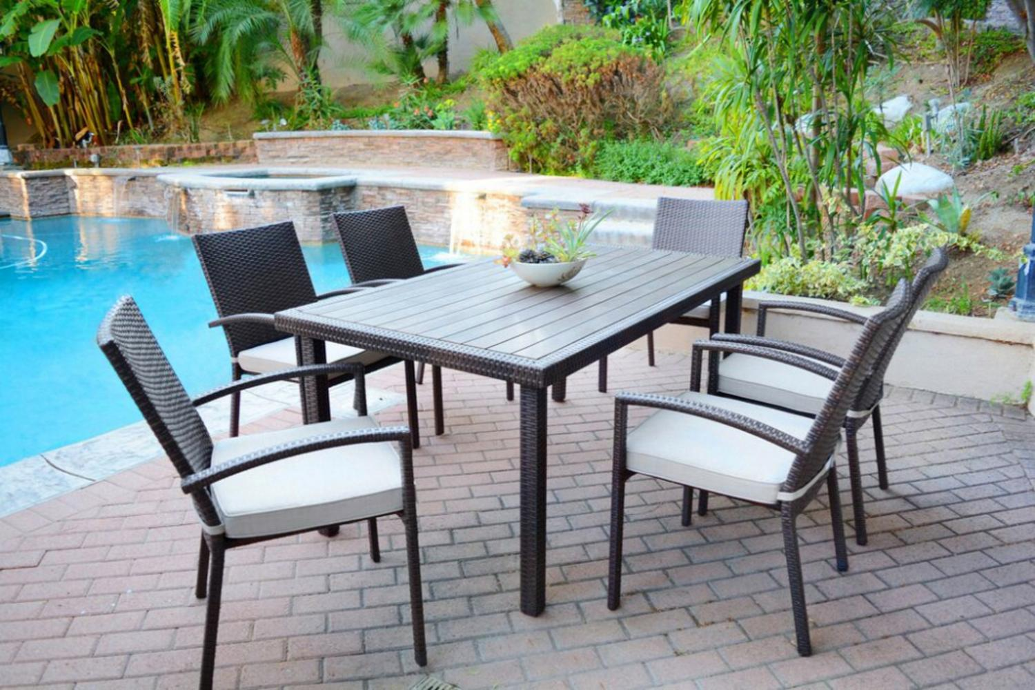 7 Piece Espresso Resin Wicker Outdoor Table And Chairs