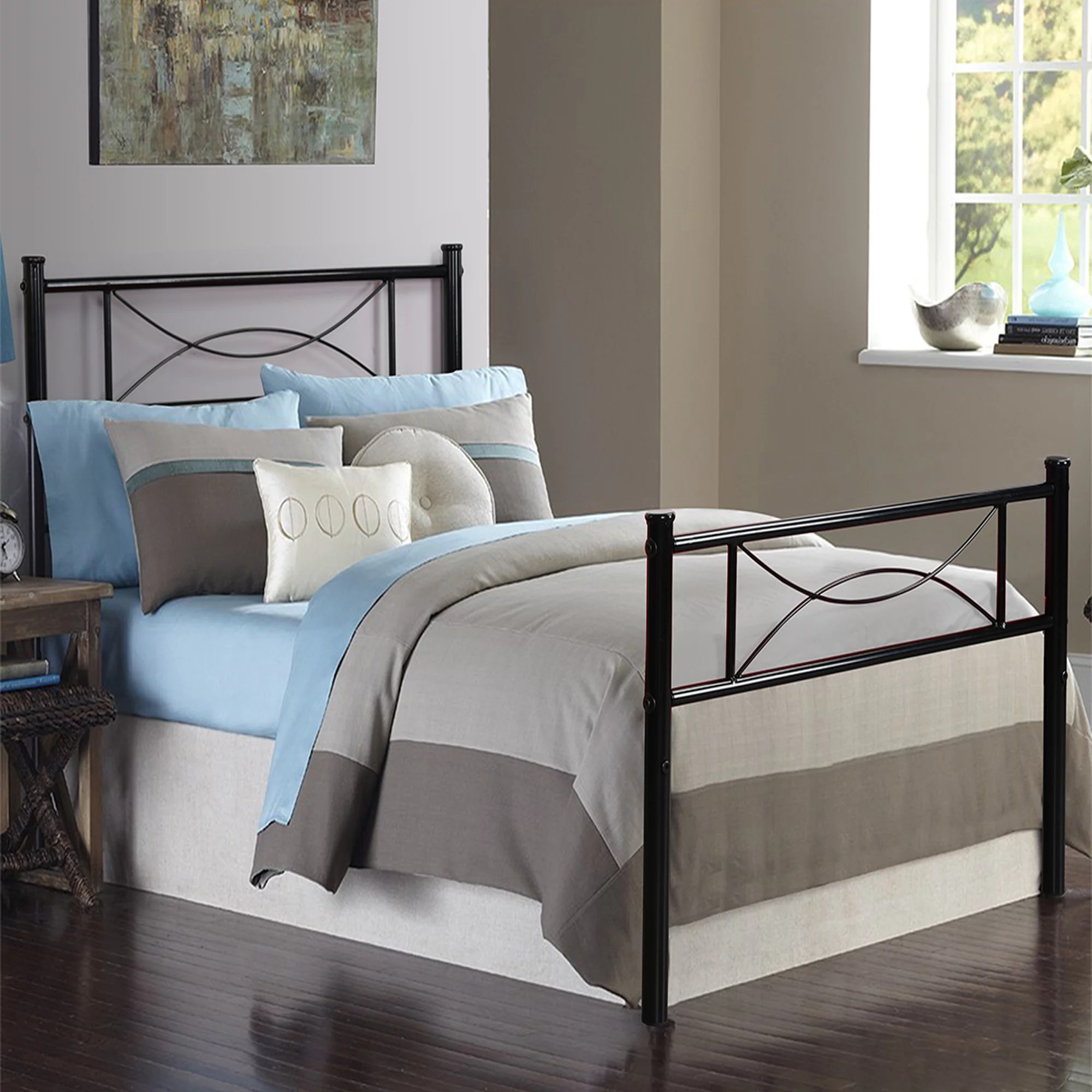 Metal Bed Headboards Cheerwing 12 7 High Metal Platform Bed Frame With Two Bowknot Headboards Easy Assembly Twin Full Size