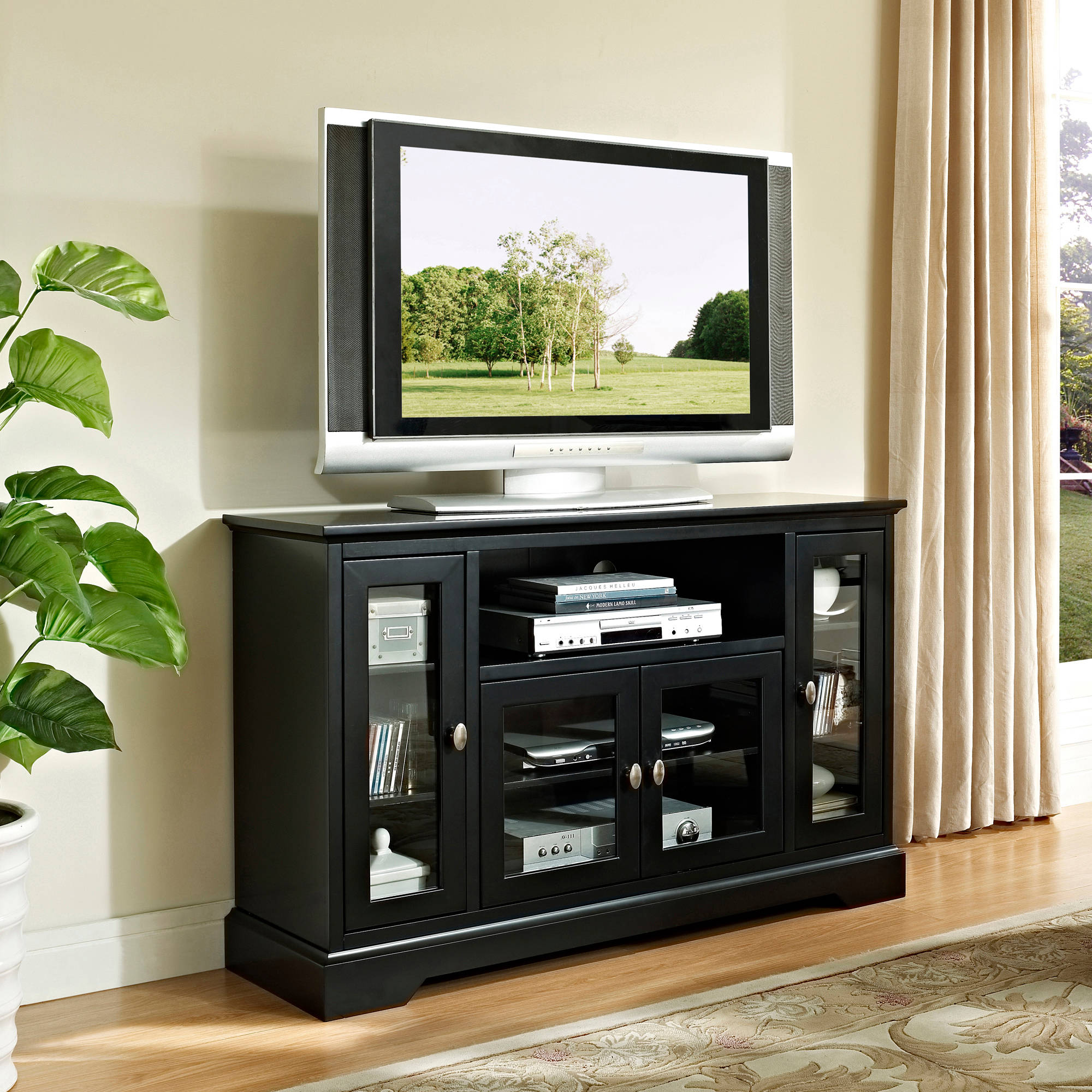 Wood corner tv fireplace tv stand for tvs up to 52 multiple finishes walmart com