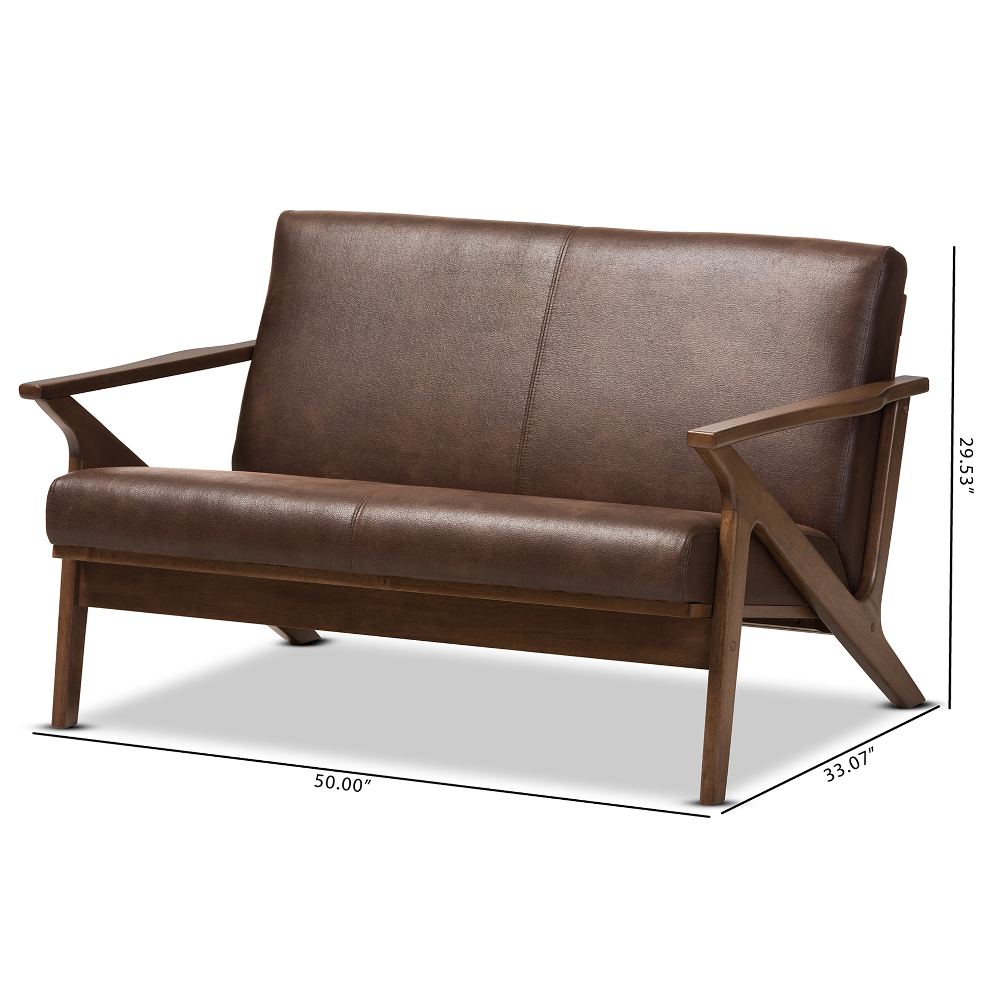 Retro Sofa Wood Baxton Studio Bianca Mid Century Modern Walnut Wood Dark Brown Distressed Faux Leather 2 Seater Loveseat