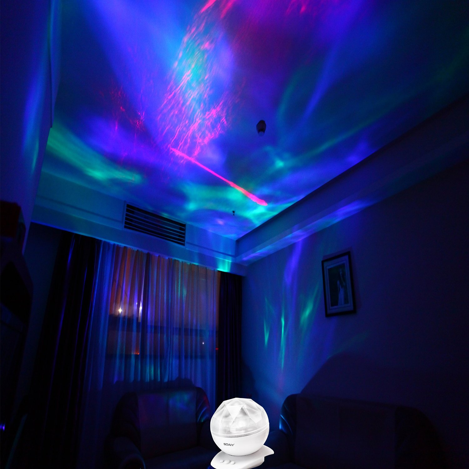 Best Nightlight For Sleep Soaiy Led Ocean Wave Night Light Projector Sleep Soothing Color Changing White Noise Machine With 8 Colors Light Show Projection Built In Soft Music