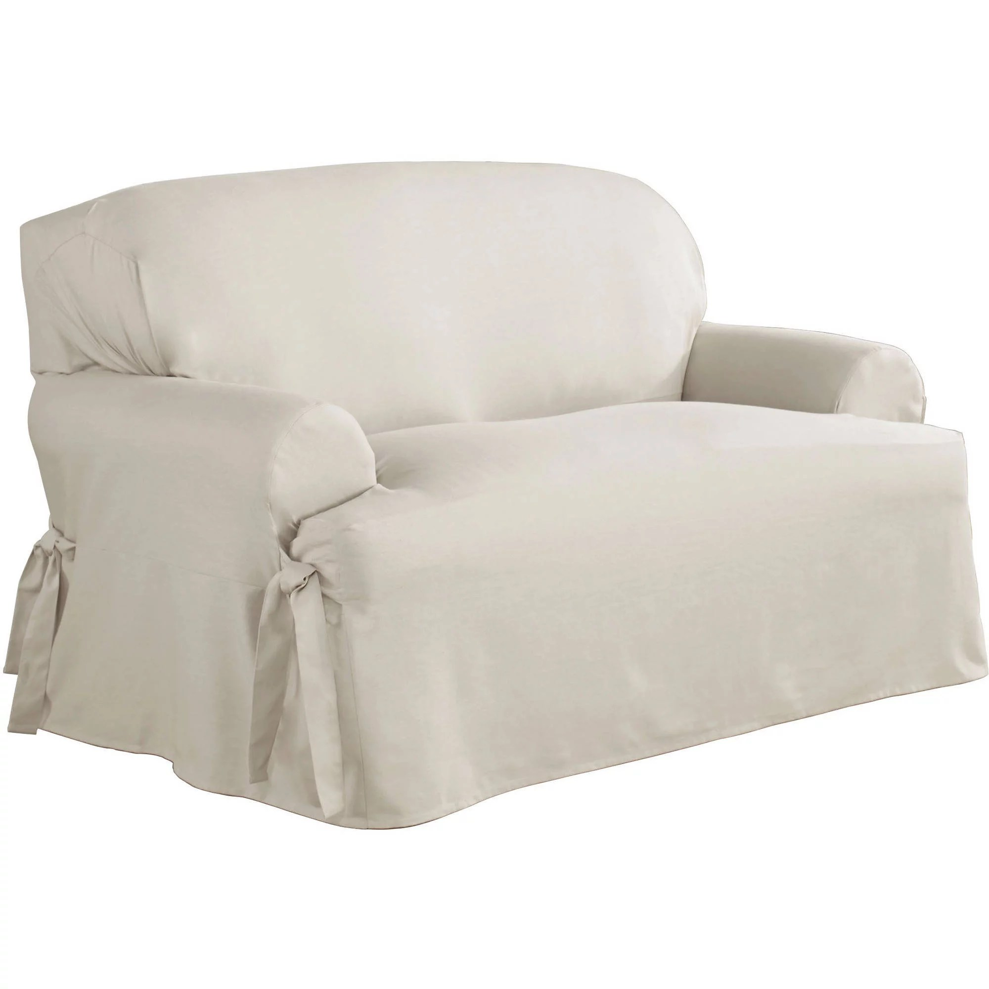 Fitted Slipcovers Couches Serta Relaxed Fit Duck Furniture Slipcover Loveseat 1 Piece T Cushion