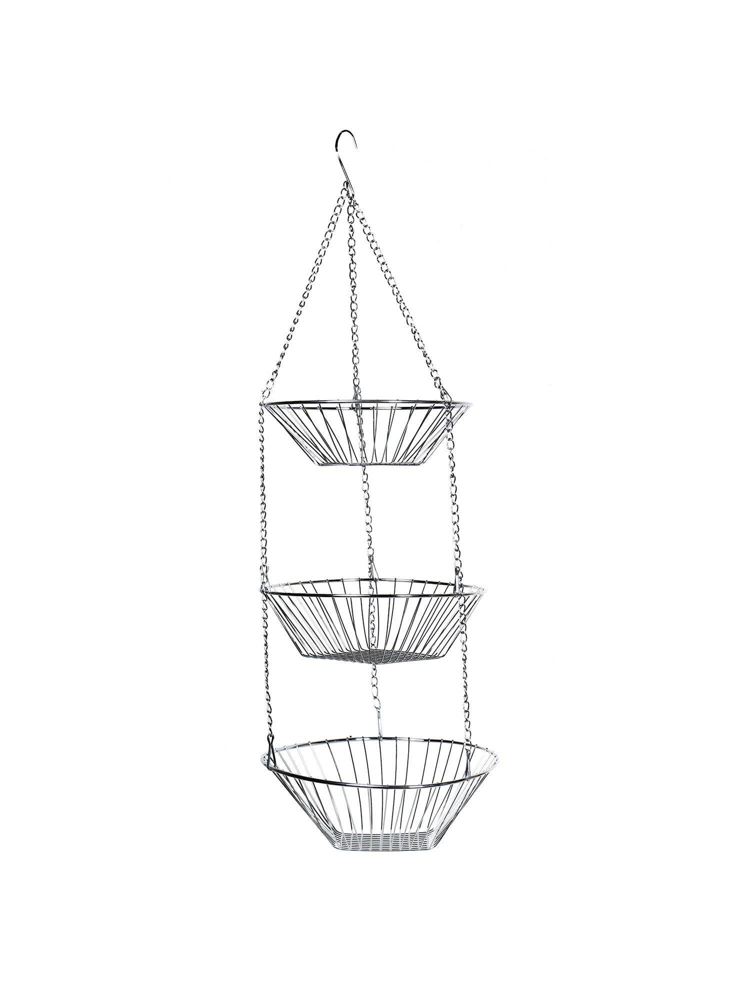 Wire Fruit Bowls Home District 3 Tier Chrome Hanging Fruit Basket Adjustable Graduated Wire Food Storage Bowls